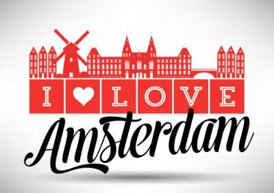 Obraz I Love Amsterdam Skyline Design