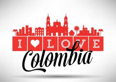 Obraz I Love Colombia Skyline Design