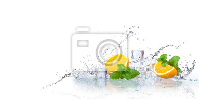 Obraz ice cubes, mint leaves with oranges isolated on a white background
