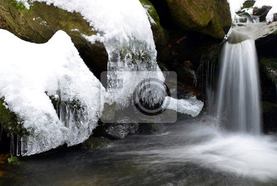 Icicles on the winter creek in the National park Sumava, Czech Republic.