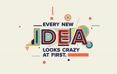 Obraz Idea quote in modern typography. idea  concept for your blog, wall graphics, typographic poster, web design and office space graphics.