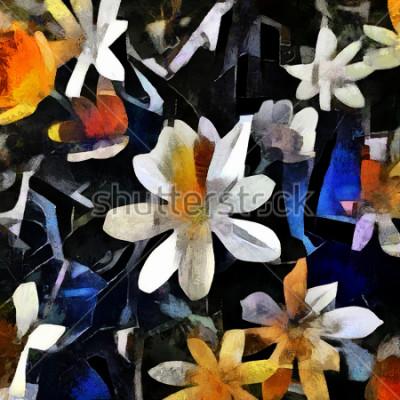 Obraz Ikiebana w stylu abstrakcyjnego kubizmu. Obraz wykonany jest olejem na płótnie z elementami malarstwa akrylowego.