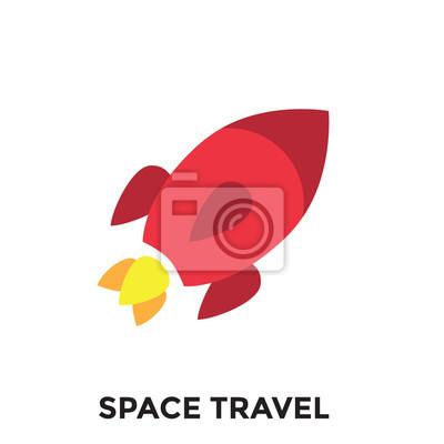 Obraz Ikona podróży kosmicznej - Rakieta - Turystyka do kosmosu - Astroturystyka poszukiwawcza