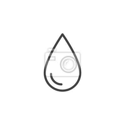 Obraz Ikona zarys kropla wody. Znak stylu liniowego dla koncepcji mobilnej i projektowanie stron internetowych. Kropla wody prosta linia wektor ikona. Symbol, ilustracja logo. Doskonała grafika wektorowa pi