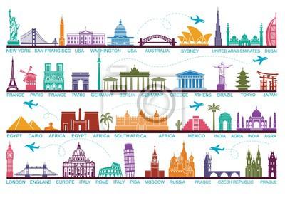 Obraz Ikony atrakcji turystycznych świata. Symbole podróżują po całym świecie. Punkt orientacyjny i atrakcje