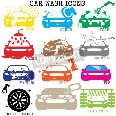 Obraz ikony kolor samochodu myjnia na białym tle