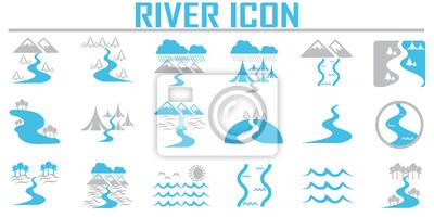 Obraz Ikony rzeki i krajobrazu.
