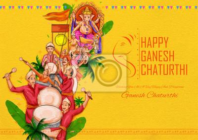 Obraz illustration of Indian people celebrating Lord Ganpati background for Ganesh Chaturthi festival of India