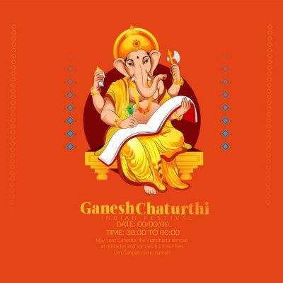Obraz illustration of Lord Ganesha background for Ganesh Chaturthi festival of India