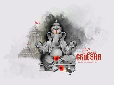 Obraz illustration of Lord Ganpati for Ganesh Chaturthi Indian festival, Background