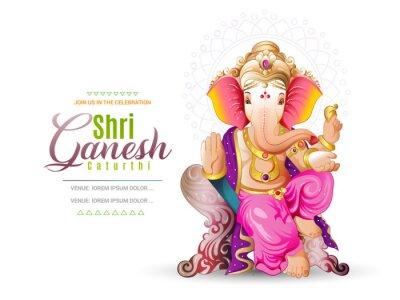 Obraz illustration of Lord Ganpati on Ganesh Chaturthi background