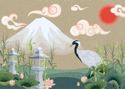 Obraz illustration with mountain, crane, lotuses and lanterns