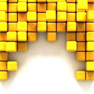 Obraz Ilustracja 3D z żółtych kostek