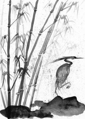 Obraz ilustracja akwarela czapla i bambus
