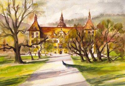 Obraz Ilustracja akwarela paw w parku i przedniej elewacji zamku Eggenberg w Graz, Styria, Austria