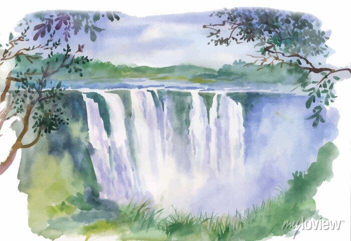 Obraz Ilustracja akwarela piękny wodospad