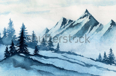 Obraz Ilustracja akwareli. Zim góry krajobraz, drzewa, niebo.