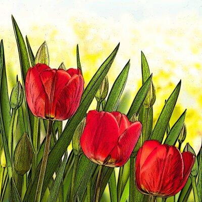 Obraz Ilustracja czerwonych tulipanów