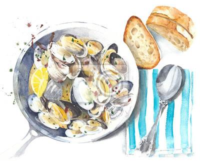 Ilustracja jedzenie owoców morza małże małże gulasz akwarela na białym tle