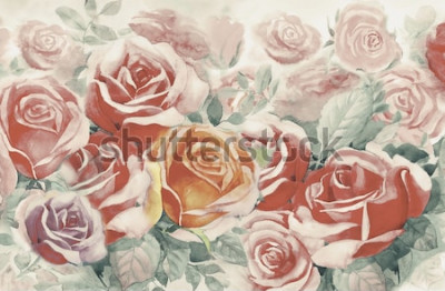 Obraz Ilustracja malowana wiosna kwitnie kolorową wiązkę róż w ogródzie i emocja w realistycznym roczniku z abstrakcjonistycznym błękitnym tłem, akwarela krajobrazowy oryginalny obraz Dla kartka z pozdrowie