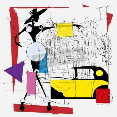 Obraz Ilustracja mody dziewczyna nowoczesny kubizm