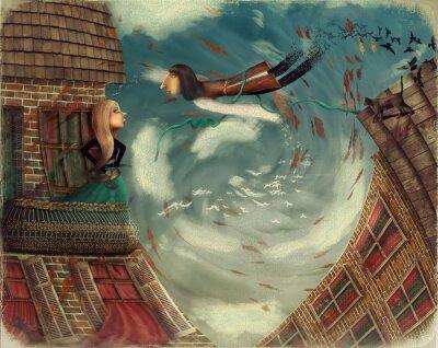 Obraz Ilustracja pokazuje człowieka w sky.He wyrasta dziewczyna bird.A stoi na balkonie i patrzy w niebo
