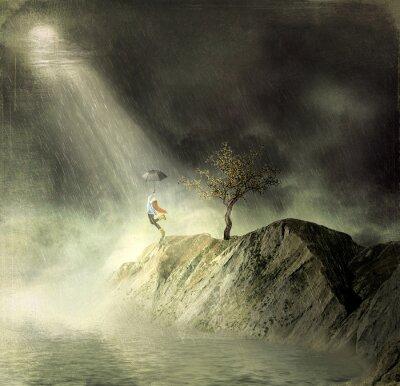 Obraz Ilustracja pokazuje dziewczyna na górze of.A dziewczyna z tańców parasolem w deszczu