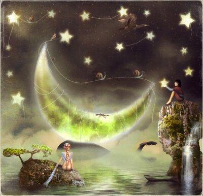 Obraz Ilustracja pokazuje wyspę bajki na niebie