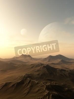 Obraz Ilustracja science fiction planety wznosi się nad horyzontem odludnym obcego świata, 3d cyfrowo świadczonych ilustracji