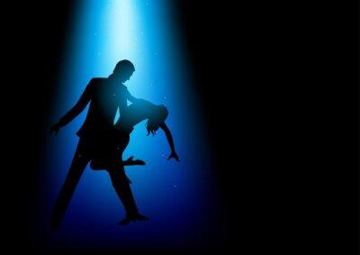 Obraz Ilustracja sylwetka taniec para