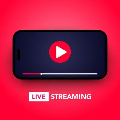 Obraz Ilustracja wektorowa koncepcja transmisji na żywo z przyciskiem odtwarzania na ekranie smartfona do transmisji online, usługa przesyłania strumieniowego