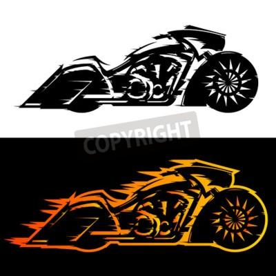 Obraz Ilustracja wektorowa motocykl stylu Bagger, Baggers niestandardowy motocykl w płomieniach