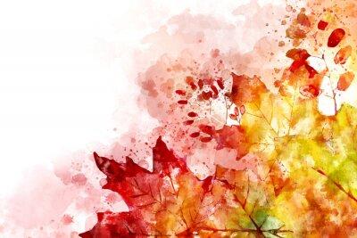 Obraz Ilustracja wizerunku upadku. Jesieni tło z żółtymi i czerwonymi liśćmi klonowymi. Cyfrowe malowanie akwarela.