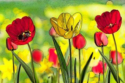 Obraz Ilustracja z łóżka tulipanów
