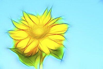 Obraz Ilustracja żółty słonecznik na niebieskim