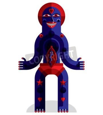 Obraz ilustracji wektorowych grafiki, antropomorficzny charakter na białym, ozdobnym nowoczesnej avatar wykonane w stylu kubizmu.