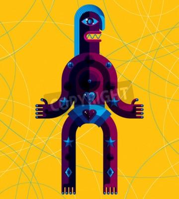 Obraz ilustracji wektorowych Graphic, charakter antropomorficzny samodzielnie na tle sztuki współczesnej avatar, dekoracyjne wykonane w stylu kubizmu.