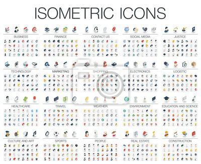 Obraz Ilustracji wektorowych izometrycznych płaskich ikon dla biznesu, banku, rynku mediów społecznej, sprawiedliwości, technologii internetowych, sklep, edukacji, sportu, zdrowia, sztuki i budownictwa. Kol