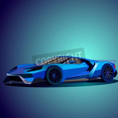 Obraz Ilustracji wektorowych nowego samochodu sportowego niebieski.