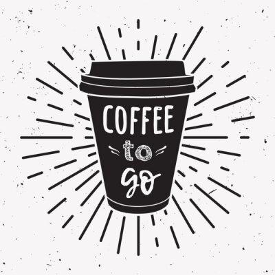 Obraz Ilustracji wektorowych z filiżanki kawy na wynos z frazą