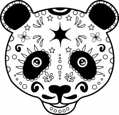 Obraz ilustracji wektorowych z głowy czarno-biały Panda