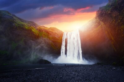 Obraz Incredible landscape with Skogafoss waterfall and unreal sunset sky. Iceland, Europe