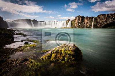Islandia, Godafoss wodospad w słoneczny dzień