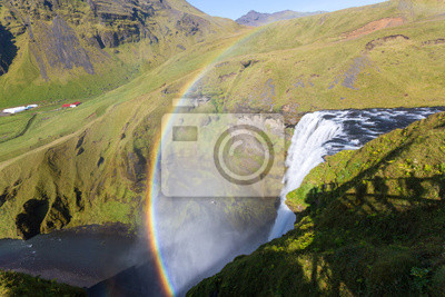 Islandia, Skogafoss wodospad z tęczy, widok z góry