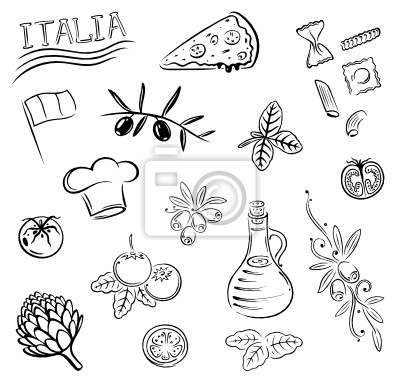 Obraz Italien, Essen, kochen, Pizza, makarony, vector set