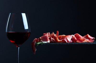 Obraz jamon z czerwonego wina