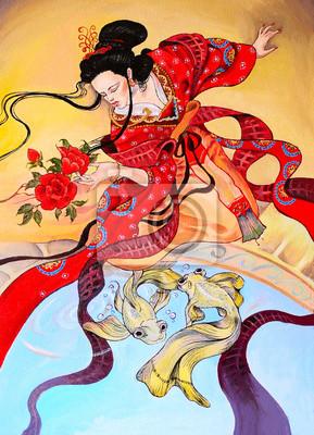japanese geisha woman in red kimono, art oil painting