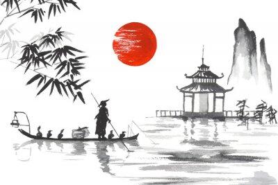 Obraz Japonia Tradycyjne japo? Skie malarstwo Sumi-e sztuki Japonia Tradycyjne japo? Skie malarstwo Sumi-e sztuki Cz? Owiek z? Odzi
