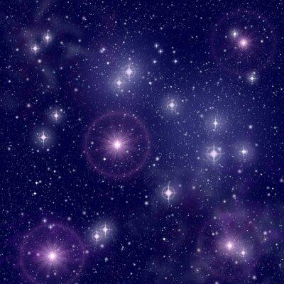 Obraz Jasne gwiazdy w przestrzeni kosmicznej