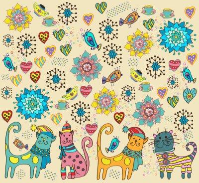 Obraz Jasne tło z kotów, kwiatów i serca